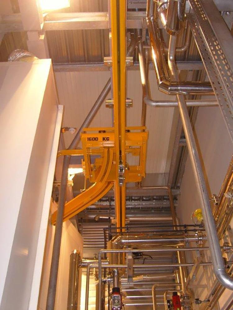 Structure porteuse pour monorail cintré métal